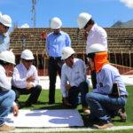 Supervisan construcción del Complejo Deportivo El Olivo