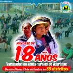 Población mayor de 18 años será vacunada en 36 distritos rurales de Apurímac
