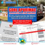 GORE Apurímac lidera Ejecución de Inversiones en Cumplimiento de Metas del año 2020
