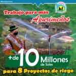 Gore Apurímac logra más de 10 millones de soles para proyectos de riego